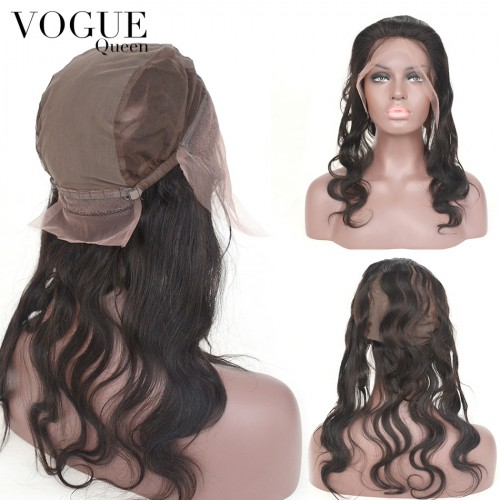360 Lace Frontal Closure With Wig Cap,Body Wave Human Virgin Hair,Pre Plucked