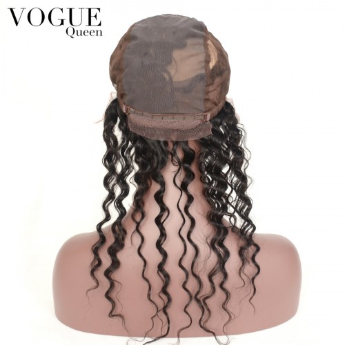 360 Lace Frontal Closure,Deep Curl Wave Virgin Hair 13x4 Lace Frontal Closure With Wig Cap