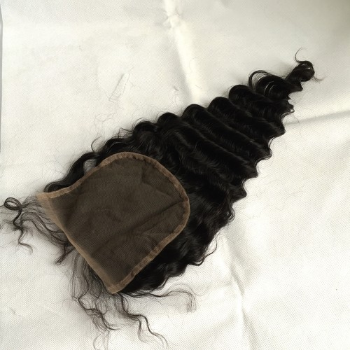 5x5 Lace Closure Deep Wave Curly Indian Human Virgin Hair Natural Color Free/Middle/3 Part