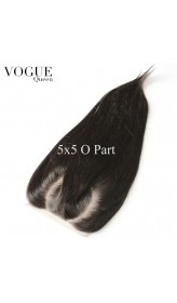 5x5  Straight O Part Lace Closure ,Natural Color,Brazilian Human Virgin Hair C part closure