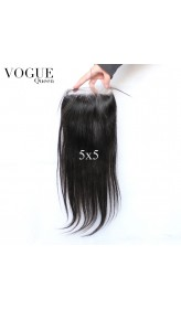 Brazilian Hair 5x5 Lace Closure Pieces,Straight,Natural Color,Free/Middle/3 Part