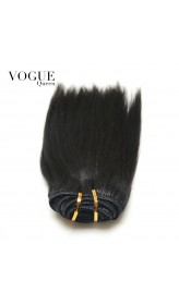 Clip In Human Hair Extensions Yaki Straight 100% Human Brazilian Hair Natural Black Hair
