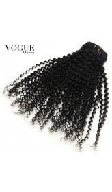 Clip In Human Hair Extensions Kinky Curly 100% Human Brazilian Hair Natural Black Hair