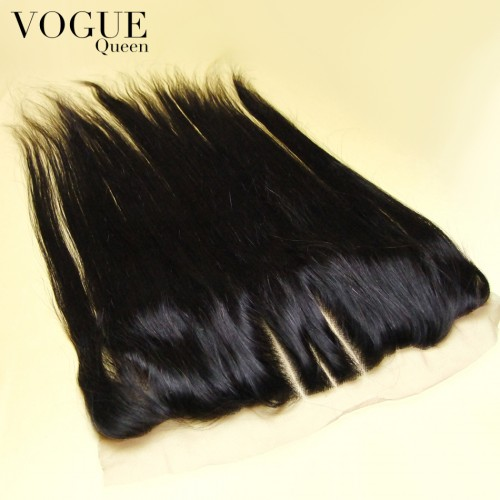 8A Grade Human Virgin Hair Straight 13x4 Lace Frontal Closure With Baby Hair,Natural Color