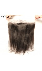 Human Virgin Hair Yaki Straight 13x4 Lace Frontal Closure With Baby Hair,Natural Color