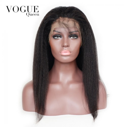 360 Lace frontal Wig Kinky Straight Human Virgin Hair,150 Density Human Hair Wigs For Black Women