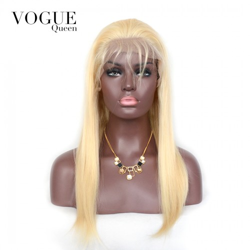 613 Blonde 360 Lace frontal Wig Straight Human Virgin Hair,150 Density Human Hair Wigs