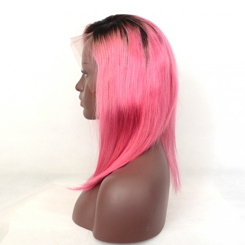 Bob 1B/Pink Ombre Color Lace Front Wigs 7A Grade Brazilian Virgin Human Hair