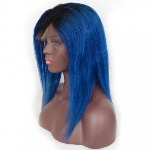 Bob 1B/Blue Ombre Color Lace Front Wigs 7A Grade Brazilian Virgin Human Hair