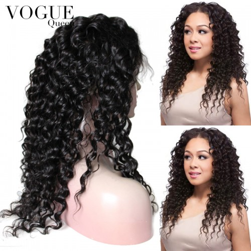 7A Grade Human Virgin Hair Full Lace Wig Deep Wave Curly For Black Women